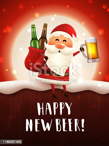 istock Happy new beer greeting card. 1189097453