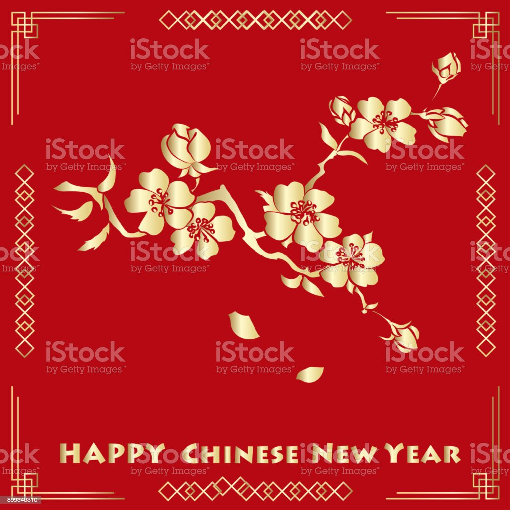 Happy New Chinese Year Card With Blossom Tree Stock Vector Art