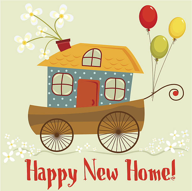 happy new home - new home stock illustrations, clip art, cartoons, & icons