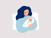 Happy new mother holds her infant baby in her arms. Vector illustration of motherhood and care about kids