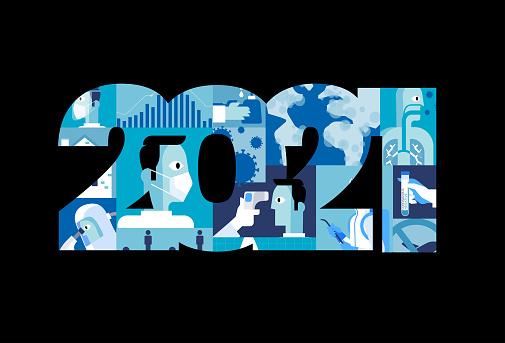 Happy New Normal Year 2021 vector illustration stock illustration