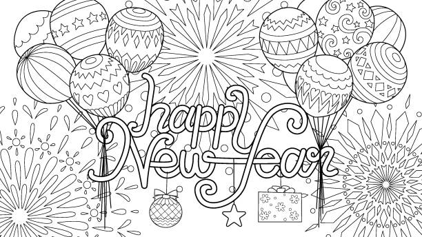 846 New Years Coloring Pages Illustrations Clip Art Istock