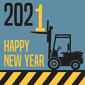 Happy New Year 2001 greeting card - fork lift truck at work, vector illustration