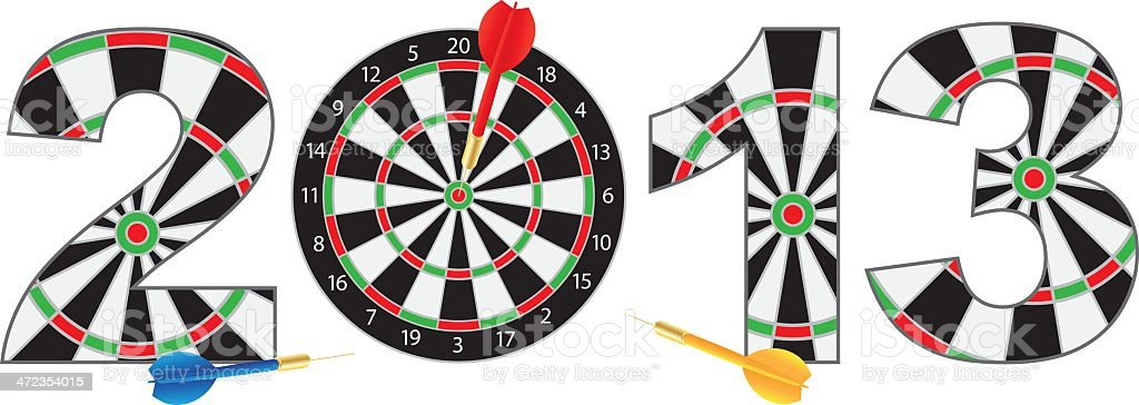 Happy New Year 2013 Dartboard with Darts Vector Illustration royalty-free stock vector art