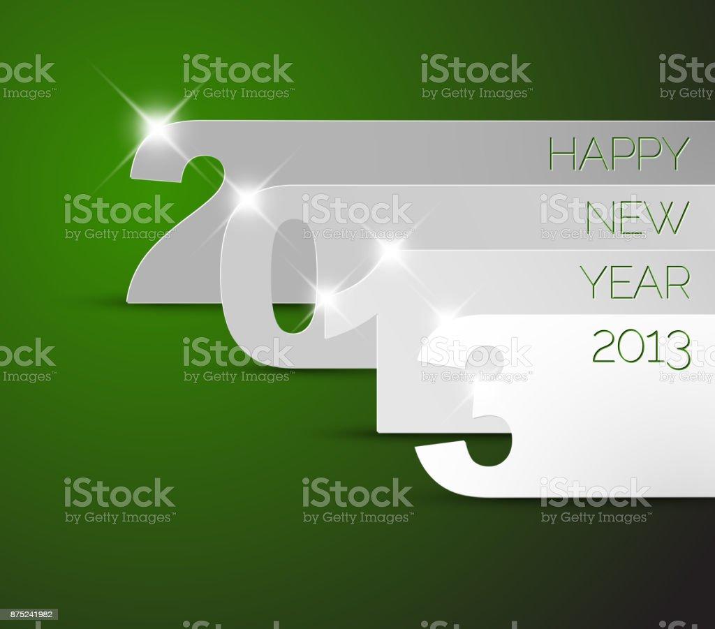 Happy New Year 2013 green vector card vector art illustration