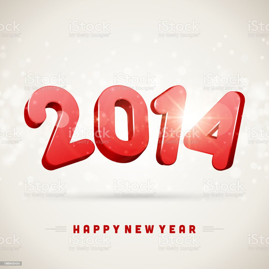 Happy New Year 2014 3d message vector background. royalty-free stock vector art