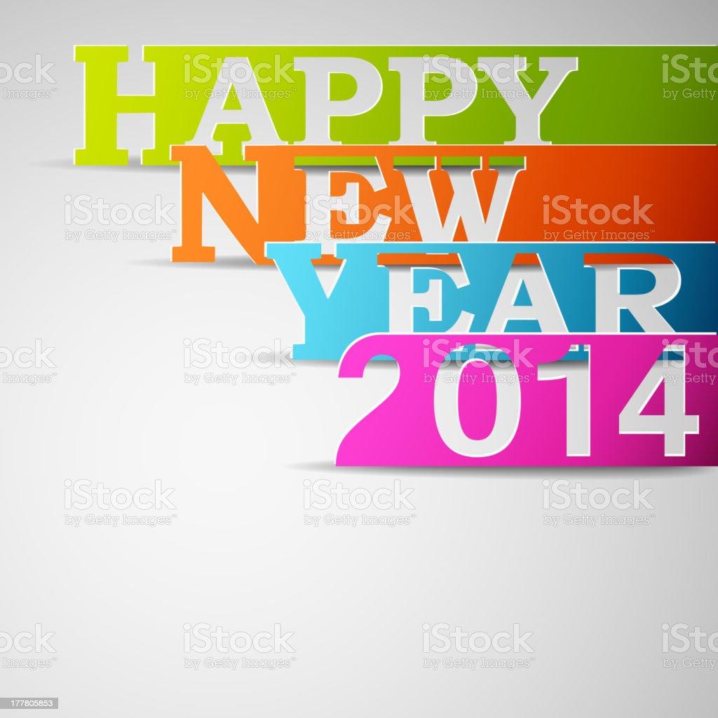 Frohes neues Jahr 2014-Papier Streifen Lizenzfreies frohes neues jahr 2014papier streifen stock vektor art und mehr bilder von 2014