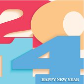 Happy New Year 2014 postcard vector illustration