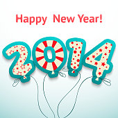 Happy New Year 2014 retro greeting card with balloons. Vector