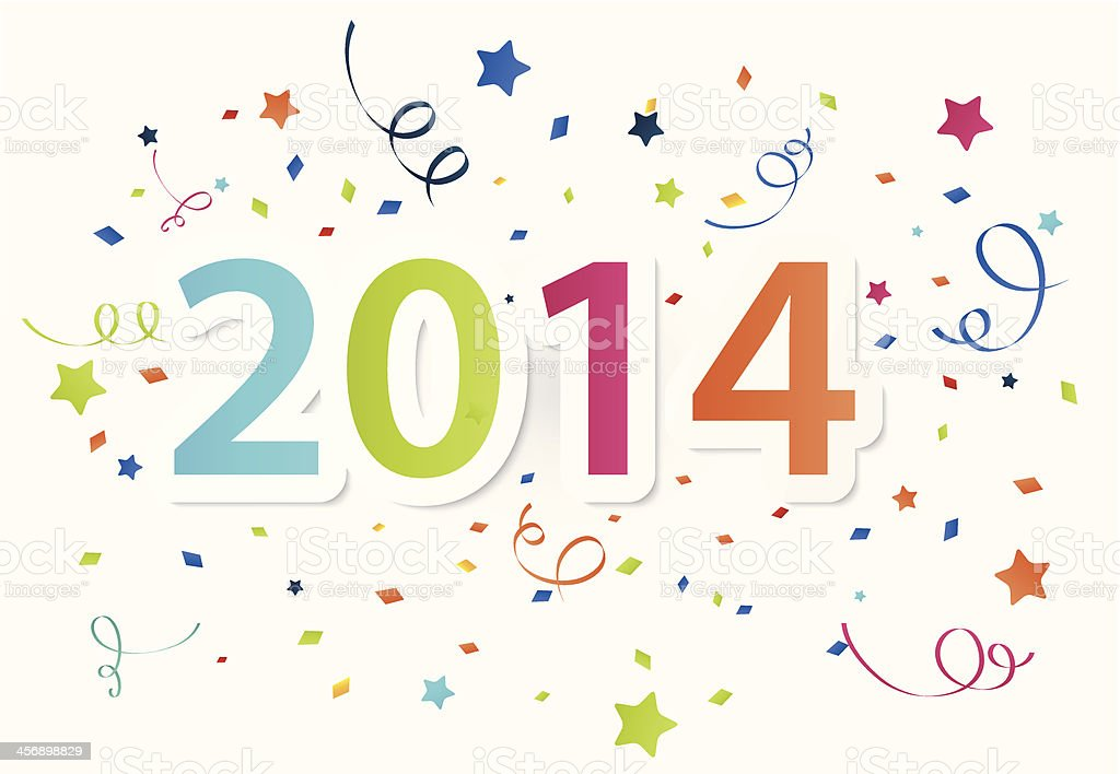 Happy New Year 2014 with colorful celebration background royalty-free stock vector art