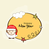 Happy New Year and Year of the Goat celebrations with cute sheep in Santa cap and wishing text in cloud, stars decorated frame.