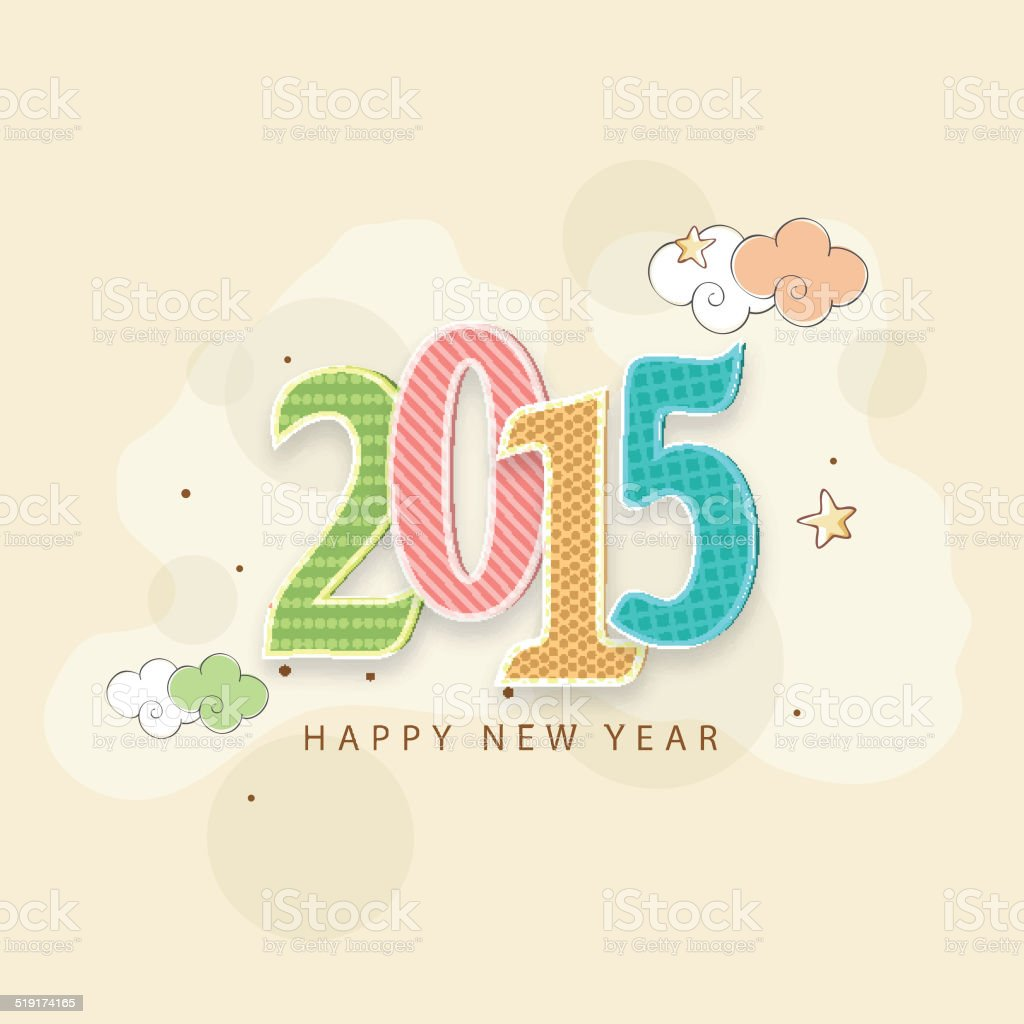 Happy New Year 2015 Celebration Greeting Card Design Stock Vector