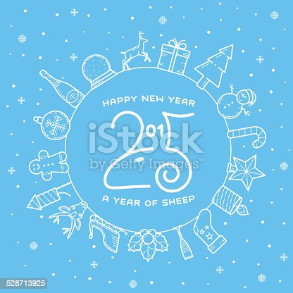 happy new year 2015 creative greeting card design with sheep stock vector art more images of backgrounds 528713925 istock