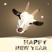 happy new year 2015 goat postcard