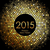 Happy New Year 2015 - gold disco lights frame