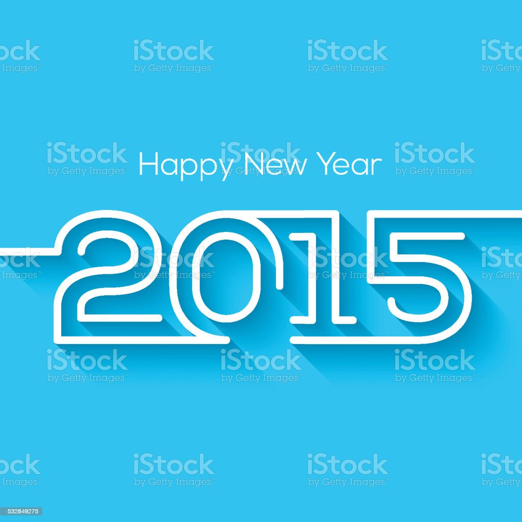 Happy New Year 2015 Greeting Card Design With Long Shadow Stock