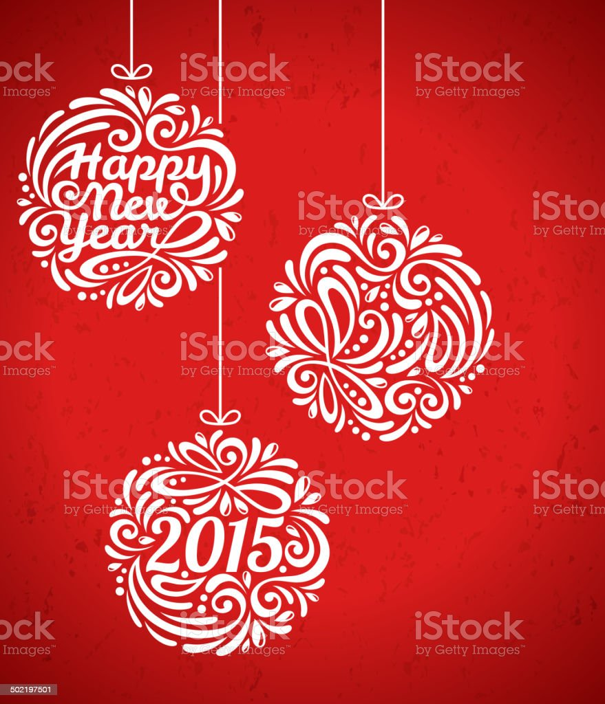 Happy New Year 2015 Greeting Card In Minimalistic Style Stock Vector