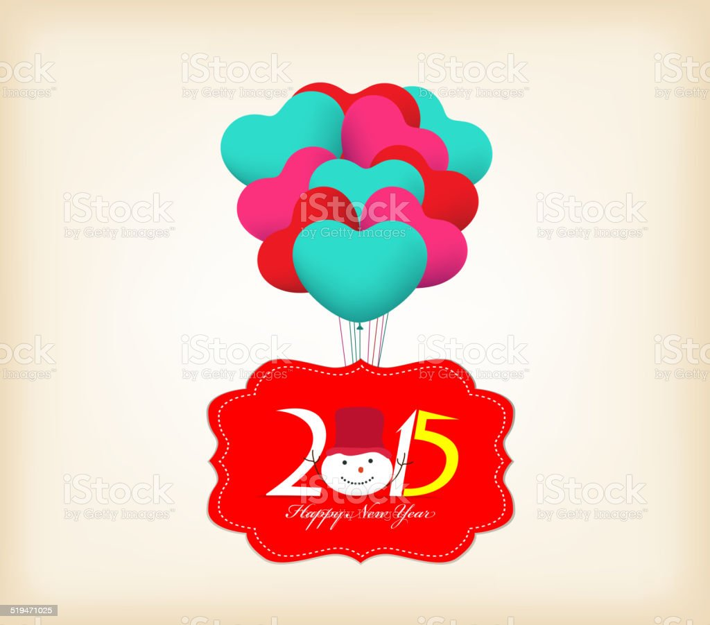 Happy New Year 2015 Greetings With Balloons Fly Stock Vector Art