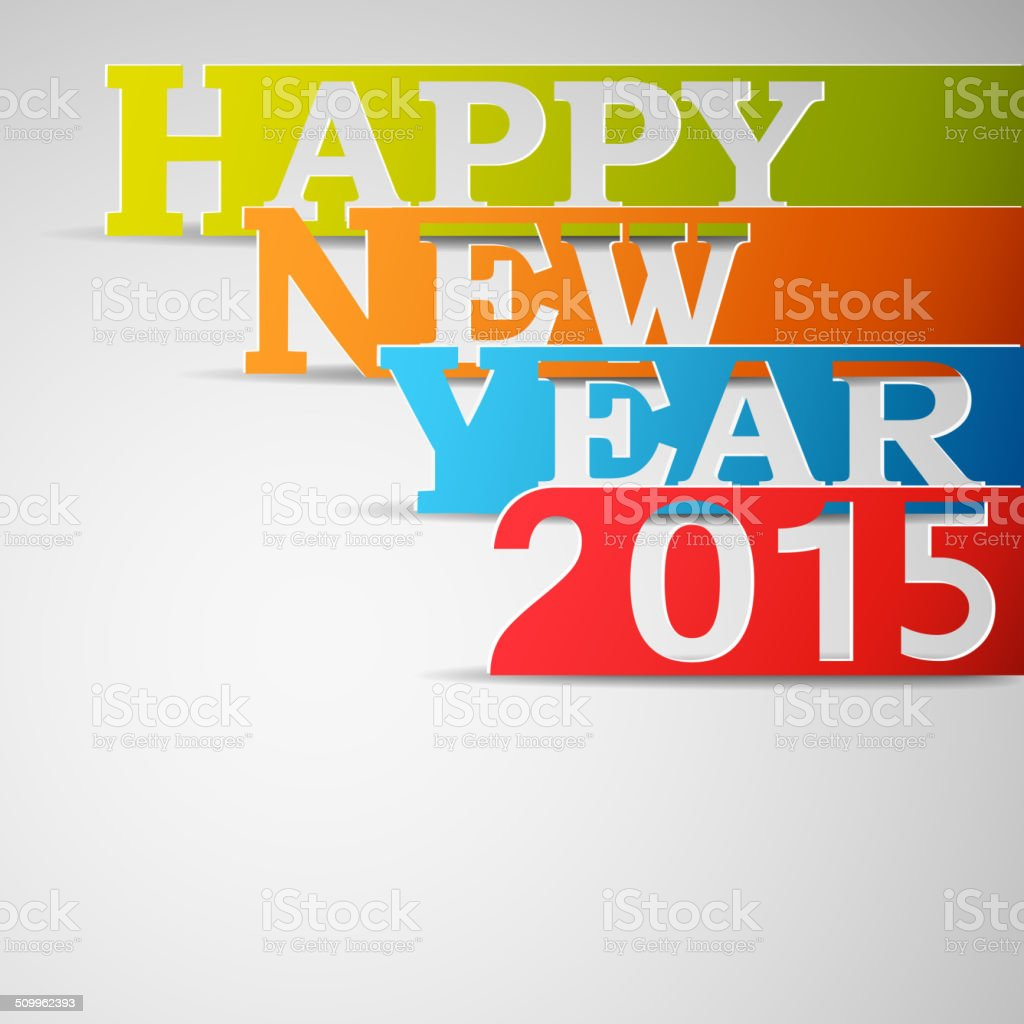 Happy New Year 2015 Paper Strips. royalty-free happy new year 2015 paper strips stock vector art & more images of 2015