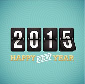 Happy New Year 2015 flip clock. EPS 10 file. Transparency effects used on highlight elements.
