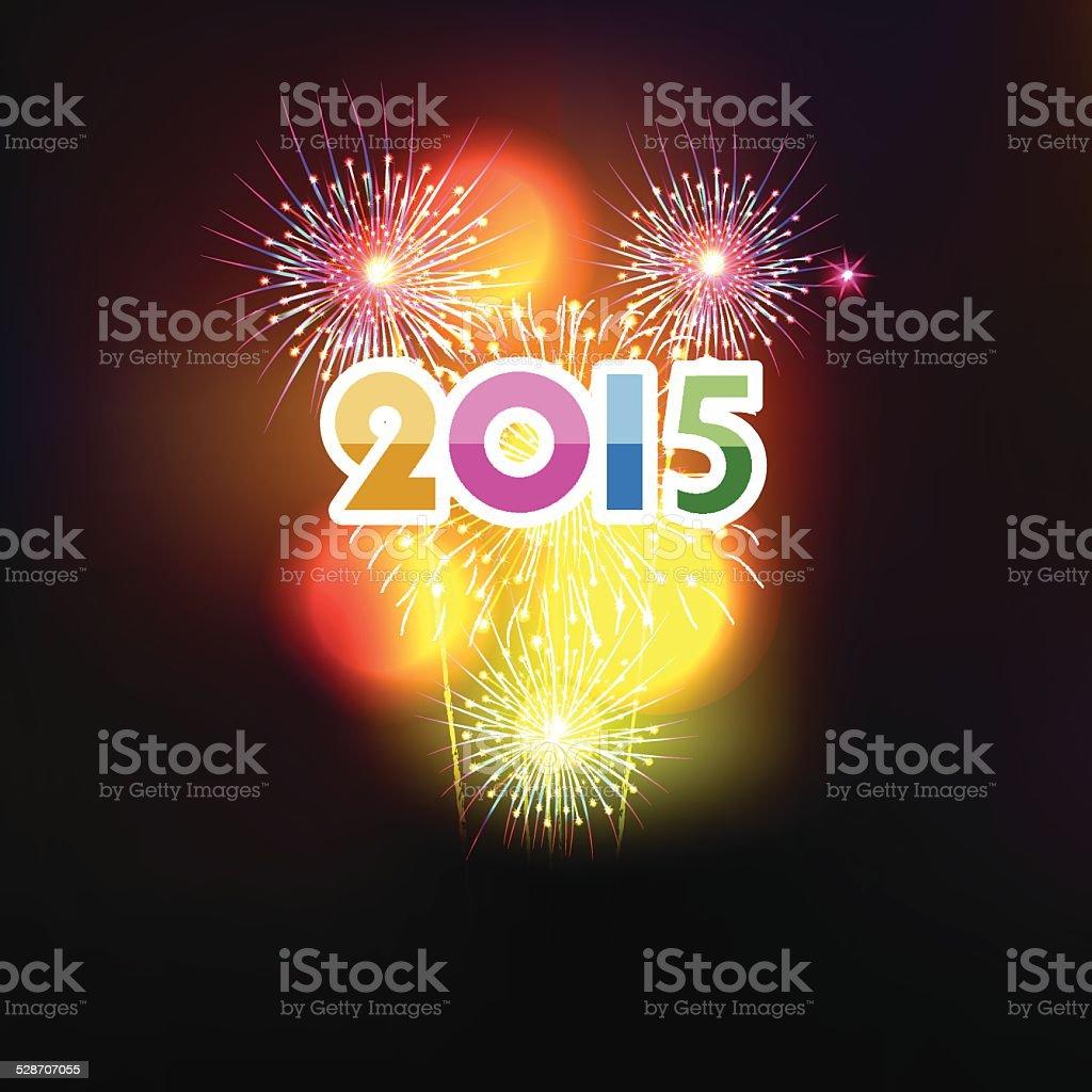 Frohes Neues Jahr 2015 Mit Feuerwerk Im Hintergrund Stock Vektor Art ...