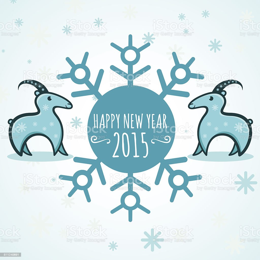 happy new year 2015 year of goat vector illustration royalty free happy new