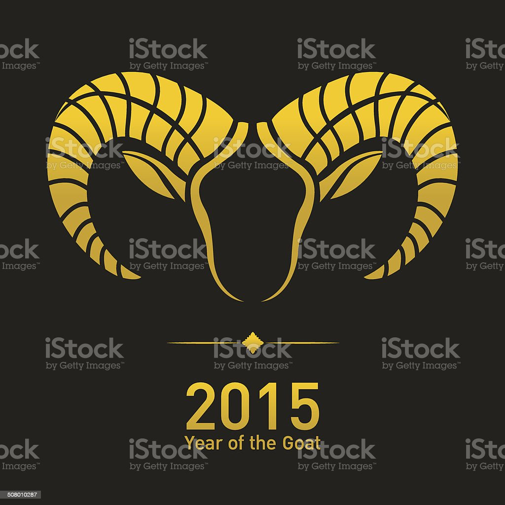 Happy New Year 2015, year of the goat vector art illustration