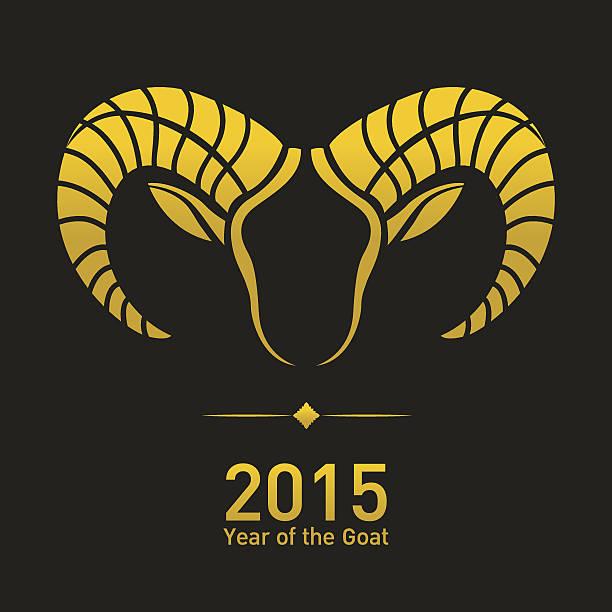 frohes neues jahr 2015 ist das jahr der ziege - bergziegen stock-grafiken, -clipart, -cartoons und -symbole