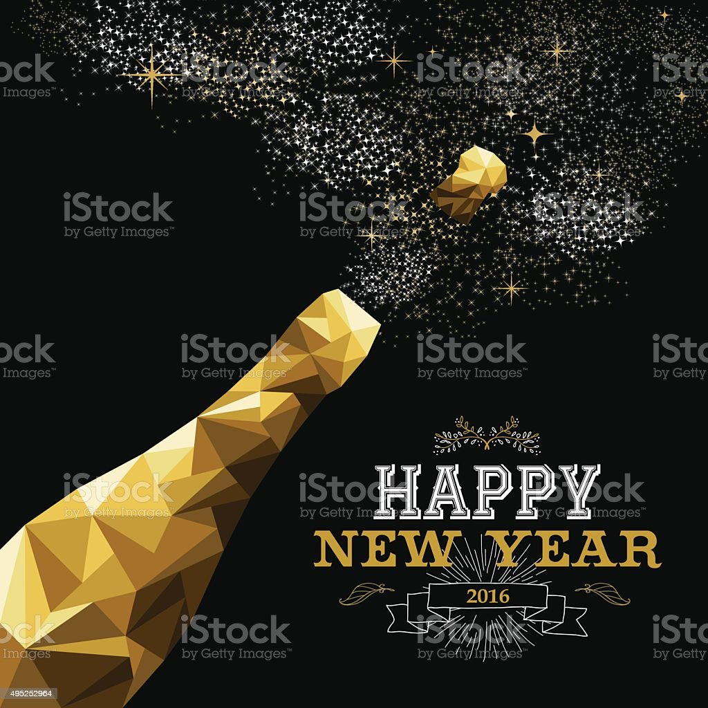 Happy new year 2016 champagne bottle low poly gold vector art illustration