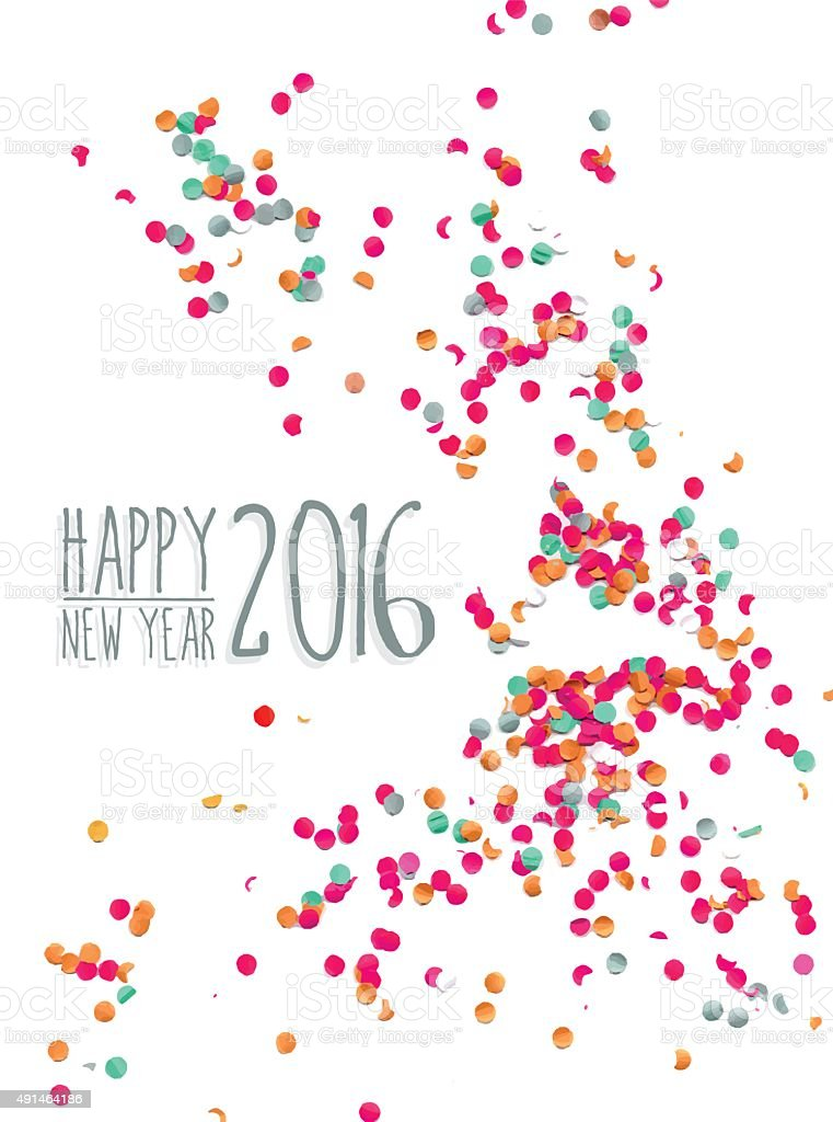 Happy new year 2016 confetti party background vector art illustration