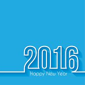 Happy New Year 2016 with space for your text. Creative greeting card with a flat design style and long shadows.