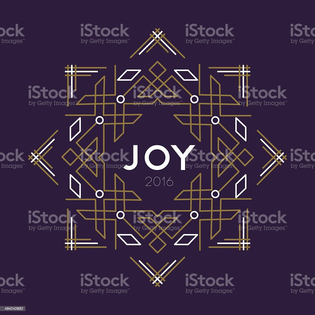 Happy new year 2016 frame art deco joy card line vector art illustration