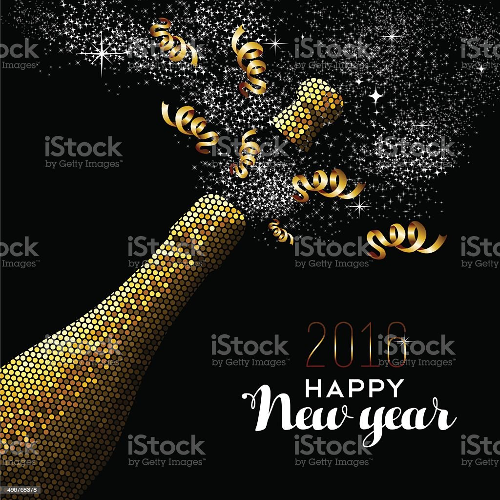 Happy new year 2016 gold drink bottle party mosaic vector art illustration