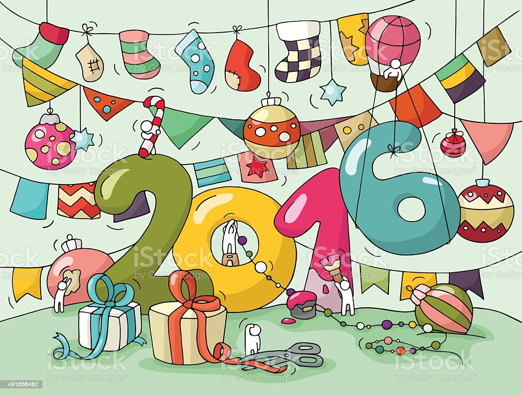Happy New Year 2016 Greeting Card Stock Vector Art More Images Of