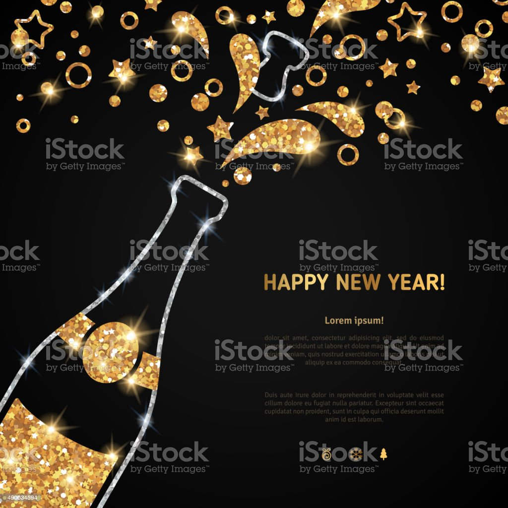 Happy new year 2016 greeting card with champagne bottle vector art illustration