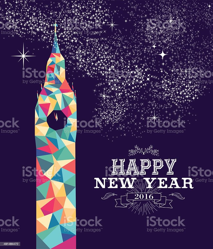 Happy new year 2016 London color triangle hipster vector art illustration