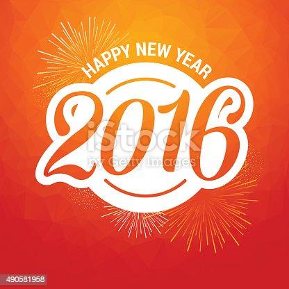 Happy New Year 2016 Polygon + Fireworks