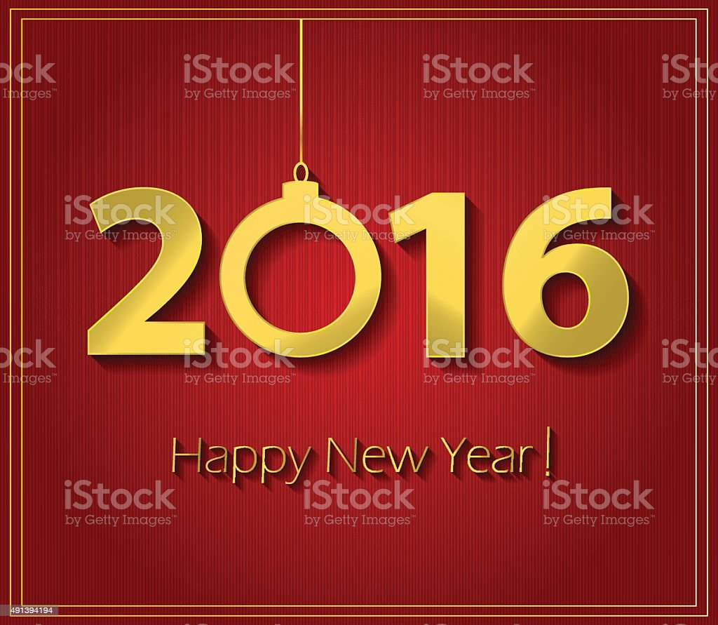 Happy New Year 2016 Red Poster Stock Illustration Download Image