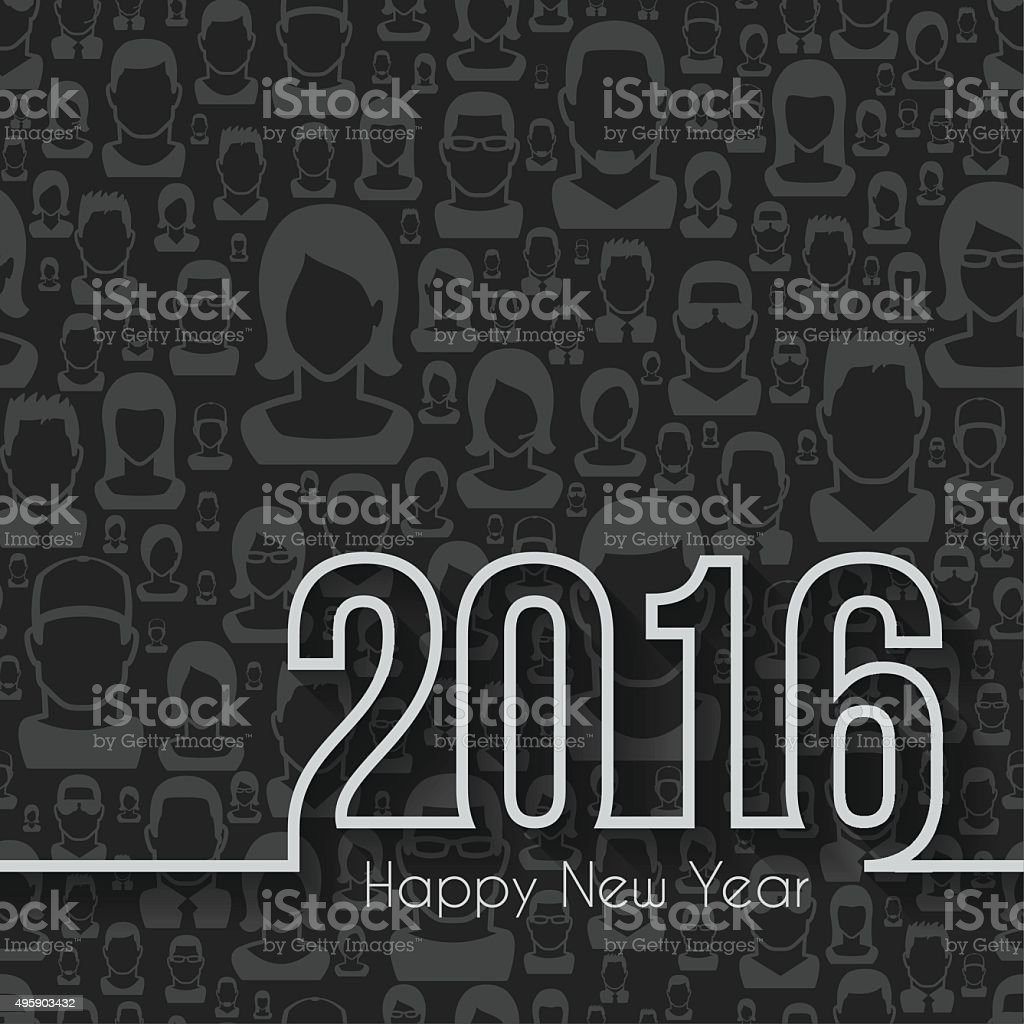 happy new year 2016 - Seamless pattern with people vector art illustration