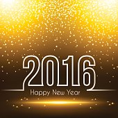 New Year 2016 with space for your text. Creative greeting card with a sparkly background, fireworks and sparkles.