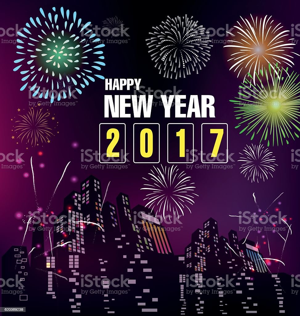 Happy new year 2017 and fireworks happy new year 2017 and fireworks - stockowe grafiki wektorowe i więcej obrazów 2017 royalty-free