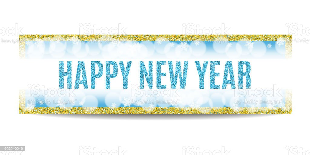 Happy New Year 2017 Banner Golden Frame And Snowflakes Royalty Free Happy  New Year 2017