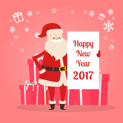 Happy New Year 2017 Banner in Santas Hand. Vector