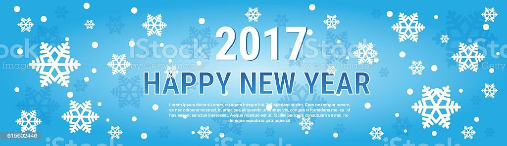 Happy New Year 2017 Banner Merry Christmas Greeting Card Stock