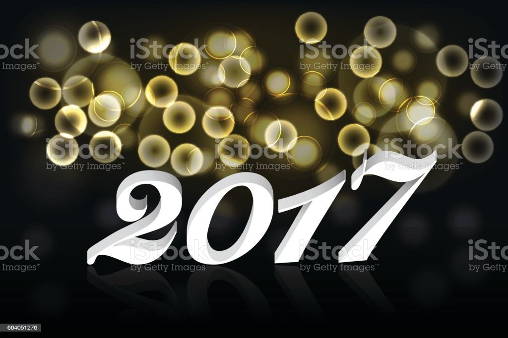 happy new year 2017 banner or background with gold bokeh effect and 3d white text with