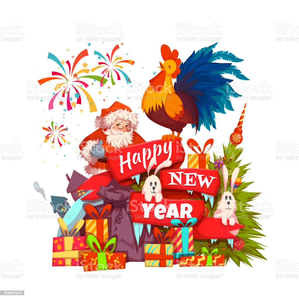 happy new year 2017 banner with santa claus and rooster stock