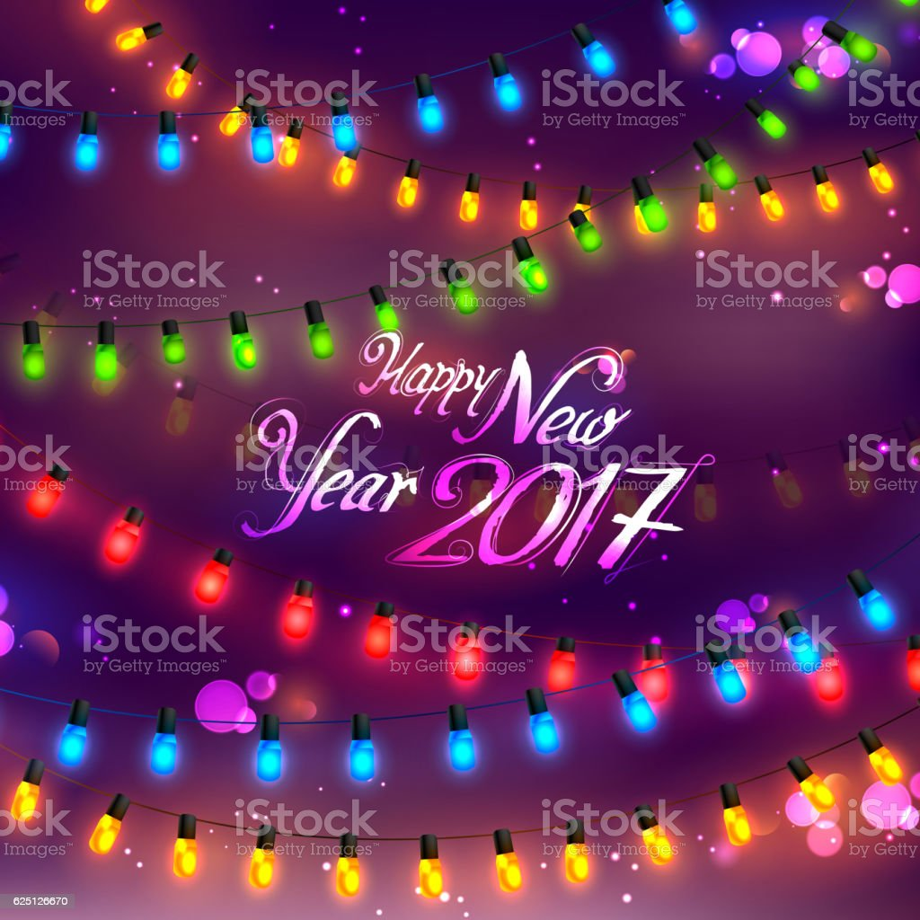 Happy New Year 2017 Celebration Abstract Starburst Seasons Greetings