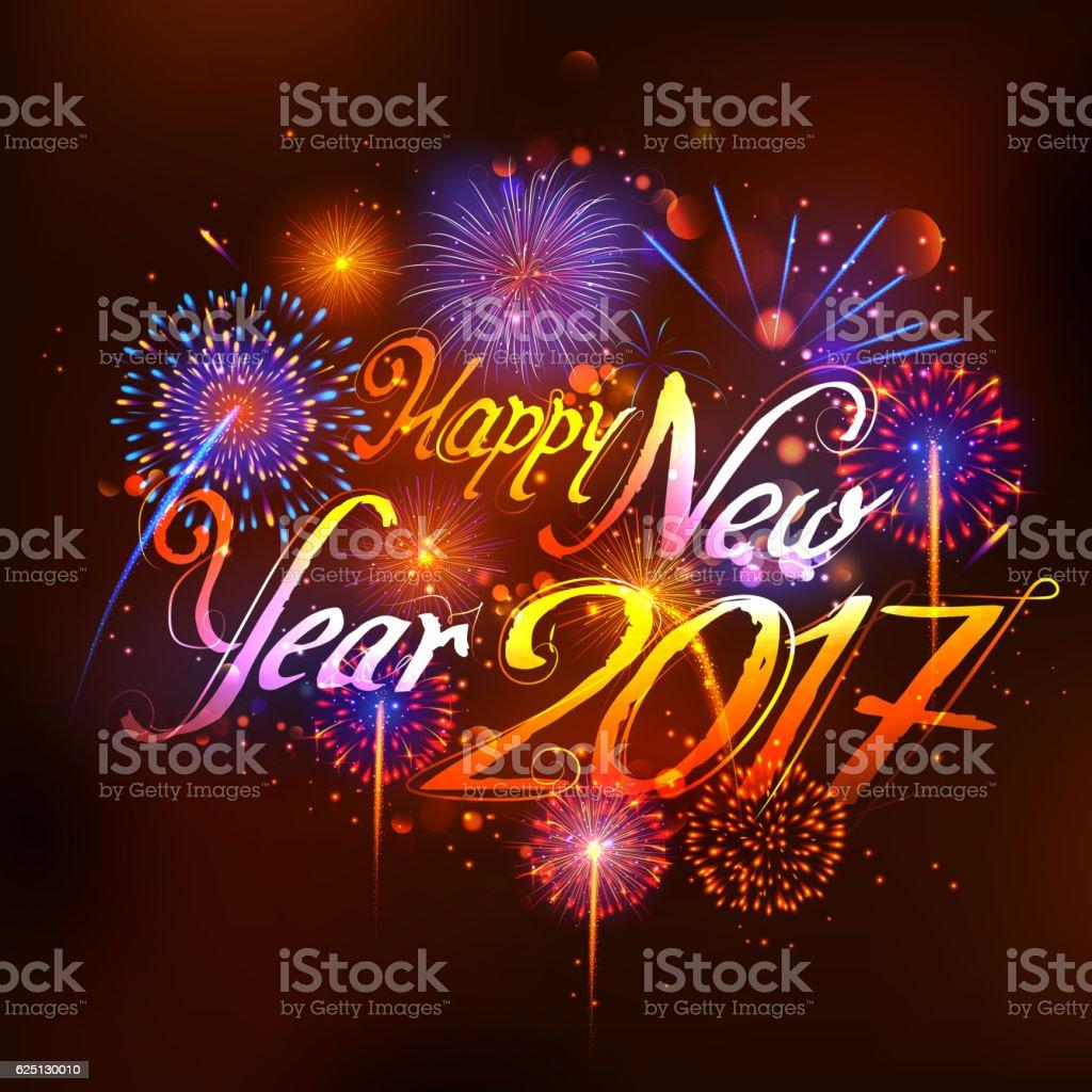 Happy New Year 2017 Celebration Abstract Starburst Seasons Greetings