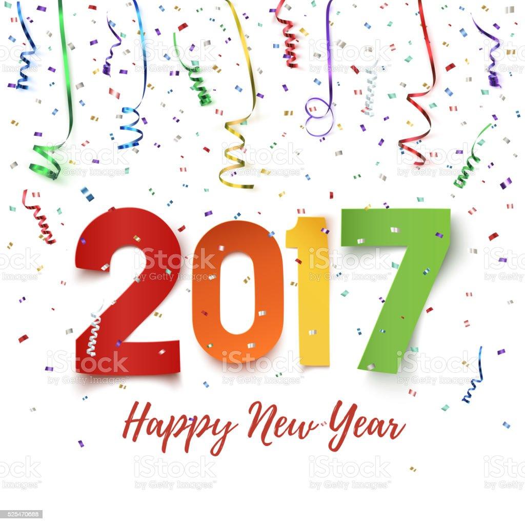 Happy New Year 2017 celebration background. vector art illustration