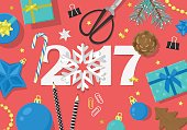 Happy New Year 2017 creative banner design in flat style.